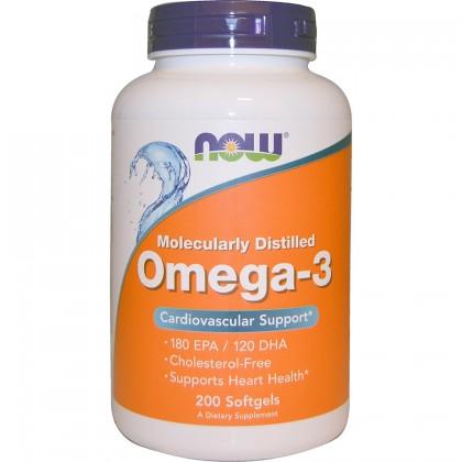 Омега-3 (Рыбный жир) - NOW 200 капсул по 1000 мг