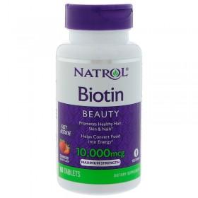 Биотин (60 таб, 10000 мкг) - Natrol